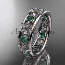 Platinum diamond leaf wedding ring, engagement ring, wedding band. ADLR160 nature inspired jewelry
