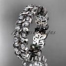 14k white gold diamond vine and leaf wedding ring, engagement ring, wedding band ADLR36