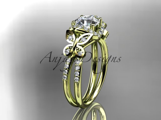 14kt yellow gold diamond butterfly wedding ring, engagement ring ADLR141