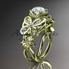 14kt yellow gold diamond floral, butterfly wedding ring, engagement ring, wedding band ADLR136