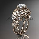 14kt rose gold diamond floral, butterfly wedding ring, engagement ring, wedding band ADLR136