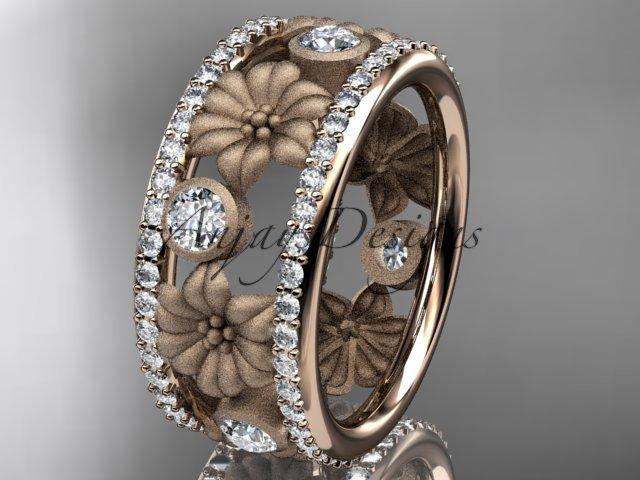 14k rose gold diamond flower wedding ring, engagement ring ADLR239