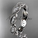 14kt white gold diamond leaf wedding ring, nature inspired jewelry ADLR241