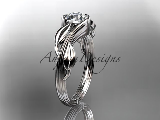 14kt white gold leaf and vine wedding ring,engagement ring ADLR273A