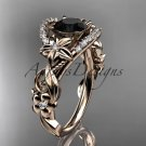 14k rose gold flower diamond unique engagement ring with a Black Diamond center stone ADLR211