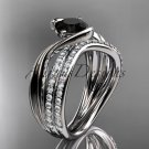 14kt white gold diamond wedding ring, engagement set with a Black Diamond center stone ADLR78S