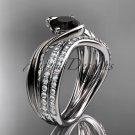Platinum  diamond wedding ring, engagement set with a Black Diamond center stone ADLR78S