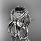 14kt white diamond engagement ring with Black Diamond center stone and double matching band ADLR90S