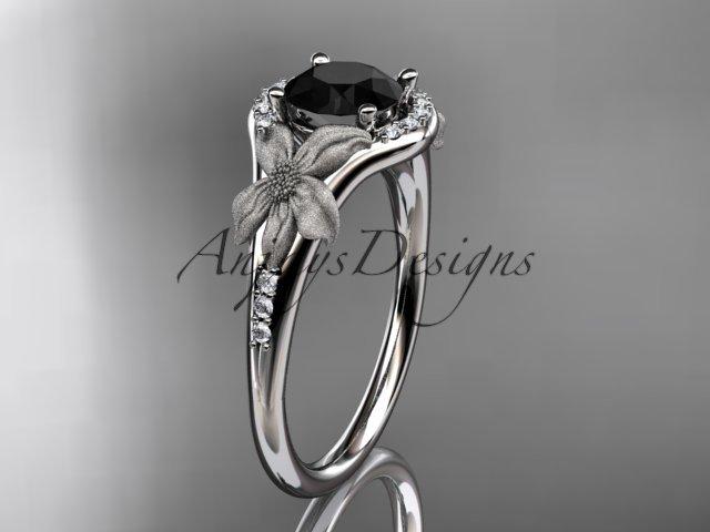 Platinum diamond engagement ring with a Black Diamond center stone ADLR91