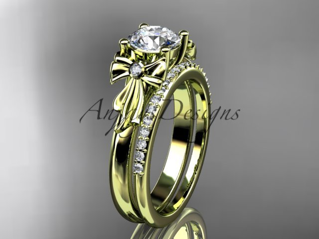 14kt yellow gold diamond unique engagement set, wedding ring ADER154S
