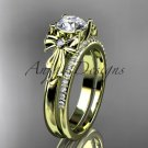 14kt yellow gold diamond unique engagement set, wedding ring with a Moissanite center stone ADER154S