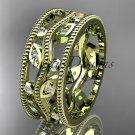 14kt yellow gold diamond leaf and vine wedding ring, engagement ring, wedding band ADLR8B