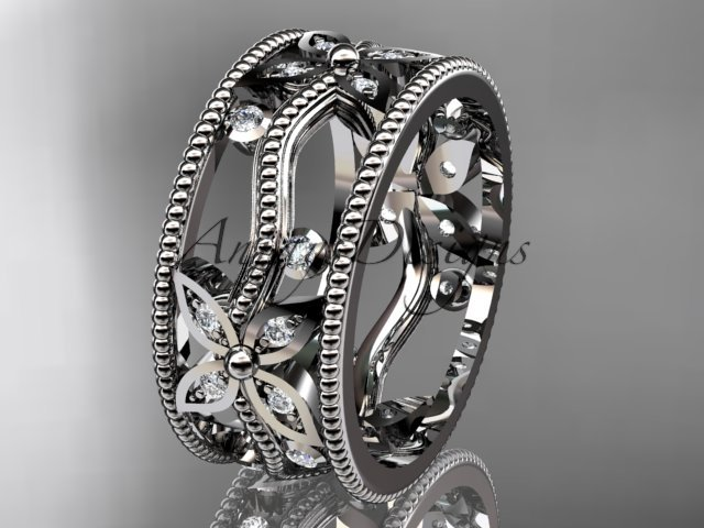 14kt white gold diamond leaf and vine wedding ring, engagement ring, wedding band ADLR9B