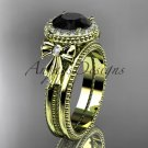 14kt yellow gold diamond unique engagement set with a Black Diamond center stone ADER157S