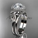 14kt white gold diamond unique engagement set, wedding ring with a Moissanite center stone ADER157S