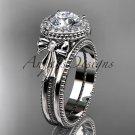 Platinum  diamond unique engagement set, wedding ring with a Moissanite center stone ADER157S
