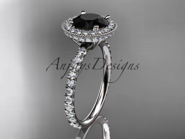 Platinum diamond unique engagement ring with a Black Diamond center stone ADER106