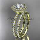 14kt yellow gold diamond unique wedding ring, engagement set ADER106S
