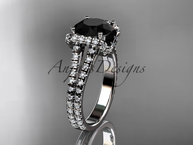 14kt white gold diamond unique engagement ring with a Black Diamond center stone ADER107