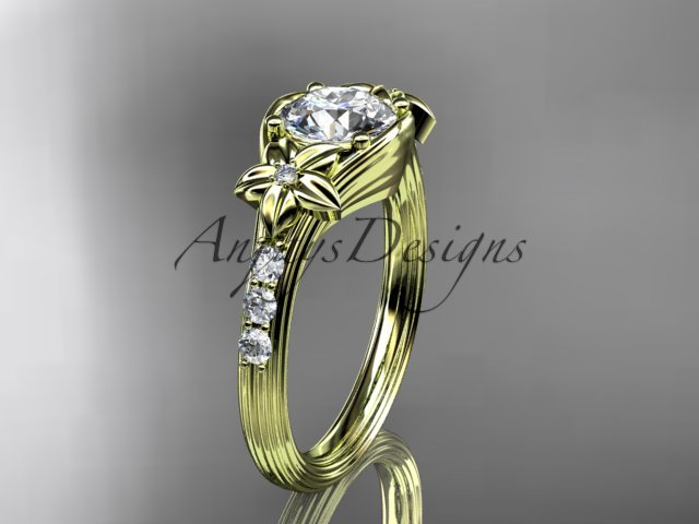 Unique 14k yellow gold diamond leaf and vine, floral diamond engagement ring ADLR333