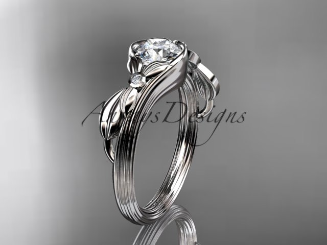 Unique platinum diamond floral engagement ring ADLR324