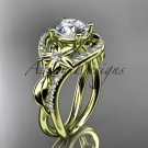 Unique 14kt yellow gold diamond leaf and vine wedding ring, engagement ring ADLR244