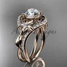 Unique 14kt rose gold diamond leaf and vine wedding ring, engagement ring ADLR244