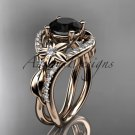 14kt rose gold diamond engagement ring with a Black Diamond center stone ADLR244