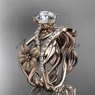 Unique 14kt rose gold floral diamond wedding ring, engagement set ADLR270S