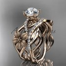 """14kt rose gold floral engagement set with a """"Forever One"""" Moissanite center stone ADLR270S"""