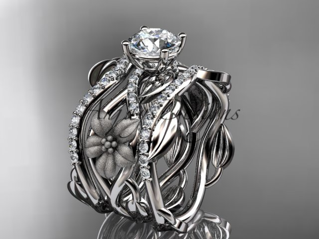 14kt white gold diamond engagement ring with a Moissanite center stone,double matching band ADLR270S