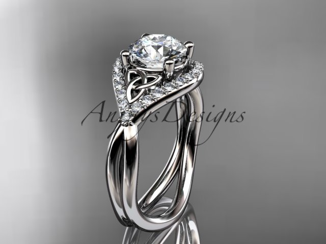 Platinum  diamond celtic trinity knot wedding ring, engagement ring CT7390