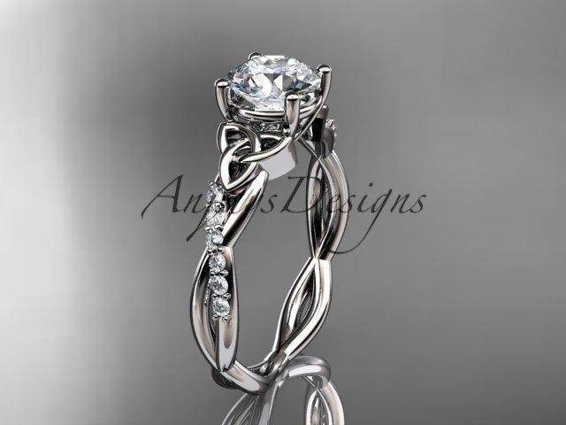 14kt white gold diamond celtic trinity knot wedding ring, engagement ring CT7388