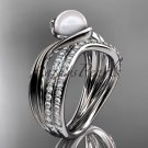 14k white gold diamond pearl engagement set AP78S
