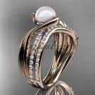 14k rose gold diamond pearl engagement set AP78S