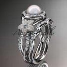 14kt white gold diamond floral wedding ring, engagement set AP127S