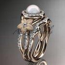 14kt rose gold diamond floral wedding ring, engagement set AP127S