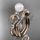 14k rose gold diamond pearl leaf engagement set AP68S