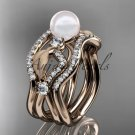 14k rose gold diamond pearl leaf engagement ring with double matching band AP68S