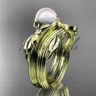 Unique 14kt yellow gold diamond floral pearl engagement set AP324S