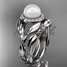 14kt white gold diamond pearl unique engagement set AP328S