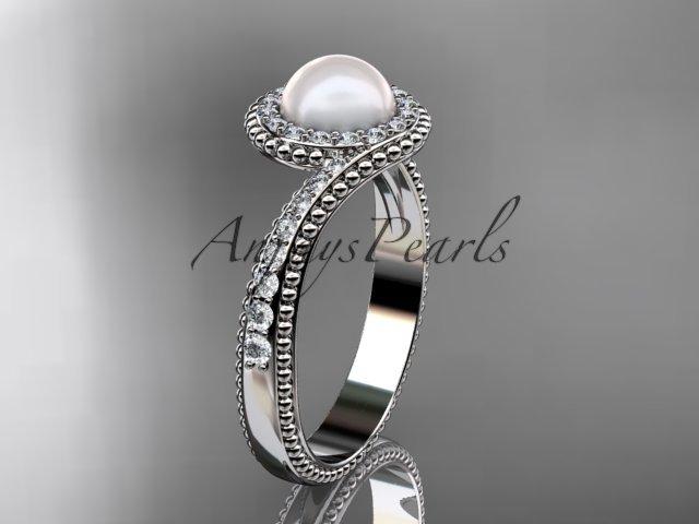 14kt white gold diamond wedding ring, engagement ring AP379