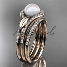 14k rose gold diamond pearl leaf engagement ring with a double matching band AP334S