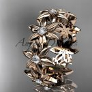14kt rose gold diamond band and vine wedding band, floral engagement band, wedding band ADLR339B