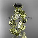 14k yellow gold diamond leaf and vine engagement ring with a Black Diamond center stone ADLR124