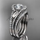 Plastinum diamond leaf wedding ring witha Moissanite center stone and double matching band ADLR317S