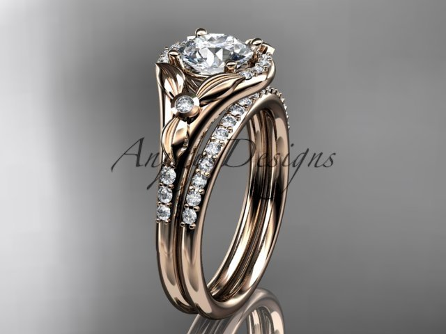 """14kt rose gold diamond floral  engagement set with a """"Forever One"""" Moissanite center stone ADLR126S"""