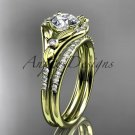 "14k yellow gold diamond floral  engagement set with a ""Forever One"" Moissanite center stone ADLR126S"