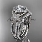 "Platinum diamond floral engagement set with a ""Forever One"" Moissanite center stone ADLR127S"