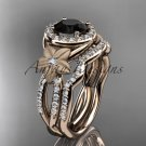 14kt rose gold diamond floral engagement set with a Black Diamond center stone ADLR127S